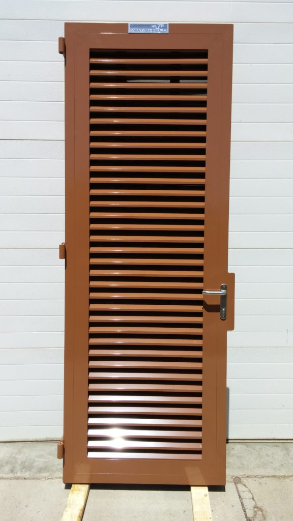 Louvered pedestrian swing gate with powder coating